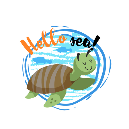Hello sea cartoon badge with trendy design cartoon cheerful cute marine turtle with fish silhouettes. Summer and sea party motivation poster. Vector illustration. Ilustracja