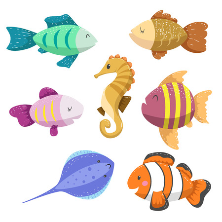 Set of tropical sea and ocean animals