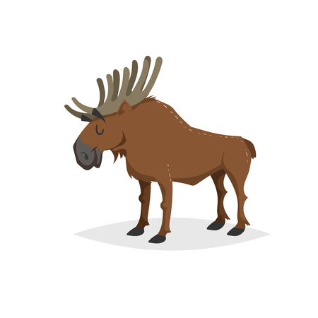 Cartoon cheerful standing moose. Forest Europe and North America animal. Flat with simple gradients trendy design. Education vector illustration. Stock Illustratie