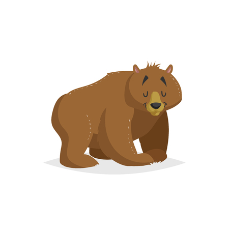 Cartoon cheerful standing red bear. Forest Europe and North America animal. Flat with simple gradients trendy design. Education vector illustration.