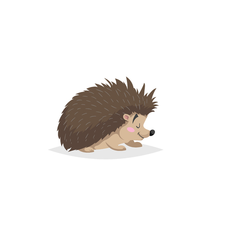 Cartoon cheerful standing hedgehog. Forest Europe and North America animal. Flat with simple gradients trendy design. Education vector illustration.