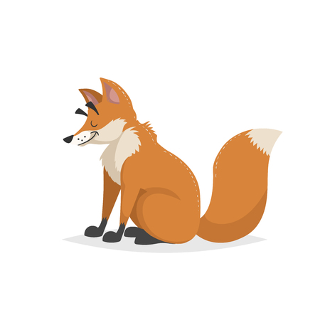 Cartoon cheerful sitting red fox. Forest Europe and North America animal. Flat with simple gradients trendy design. Education vector illustration. 向量圖像