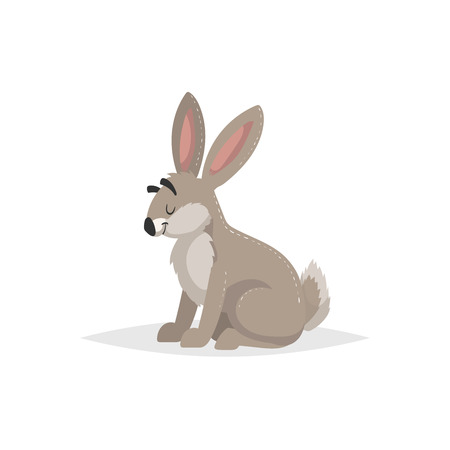 Cartoon cheerful sitting hare. Forest Europe and North America animal. Flat with simple gradients trendy design. Education vector illustration.  イラスト・ベクター素材