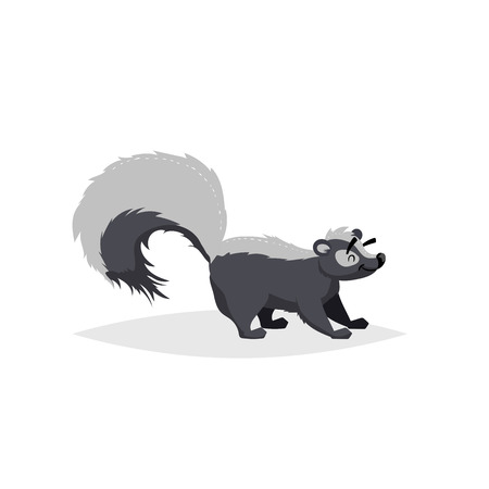 Cartoon cheerful skunk. Forest North America animal. Flat with simple gradients trendy design. Education vector illustration.