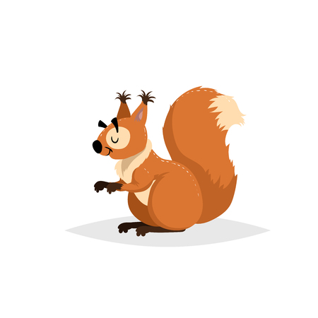 Cartoon cheerful fluffy squirrel. Forest Europe and North America animal. Flat with simple gradients trendy design. Education vector illustration.