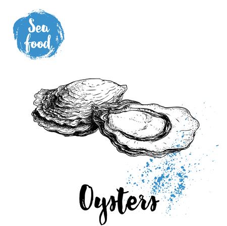 Hand getrokken oestersamenstelling, schets stijl illustratie. Vector Illustratie