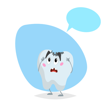 Dead tooth mascot. Dental care character isolated on blue background.