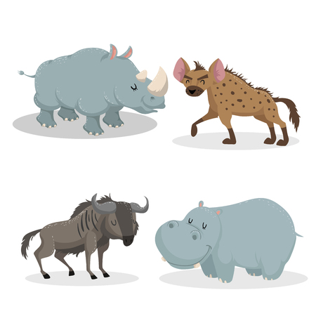Ensemble d'animaux africains de style branché de dessin animé. Rhino, hyène, antilope de gnou, hippopotame. Yeux fermés et mascottes gaies. Illustrations vectorielles de la faune. Vecteurs