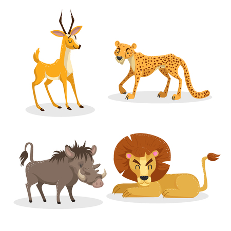 Cartoon trendy style african animals set. Cheetah, antelope, lion, pig warthog. Closed eyes and cheerful mascots. Vector wildlife illustrations.