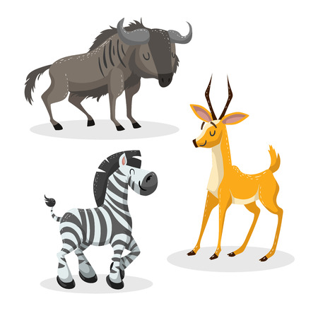 Cartoon trendy style african artiodactyls  set. Gnu, antelope, gazelle, wildebeest and zebra. Closed eyes and cheerful mascots. Vector wildlife illustrations.