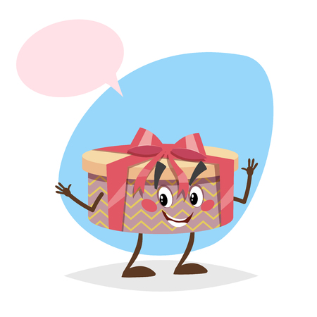 Cartoon smiling gift box character with red ribbon and bow dummy speech bubble isolated on blue background.