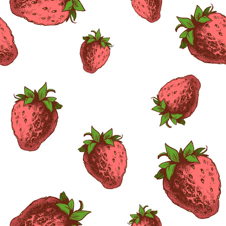 Strawberries seamless pattern. Hand drawn sketch style ripe fruits and berries vector illustration. Ilustração