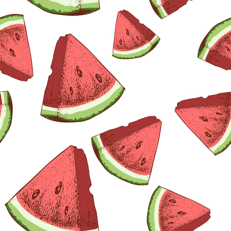 Watermelon slices seamless pattern. Hand drawn sketch style ripe summer fruits vector illustration.