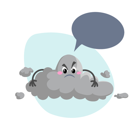 Cartoon overcast storm cloud mascot. Weather rain and storm symbol. Speaking character with dummy speech bubble and little clouds. Vector illustration icon.
