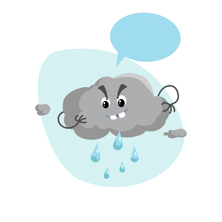 Cartoon overcast storm cloud with rain drops mascot. Weather rain and storm symbol. Speaking character with dummy speech bubble and little clouds. Vector illustration icon. Illustration