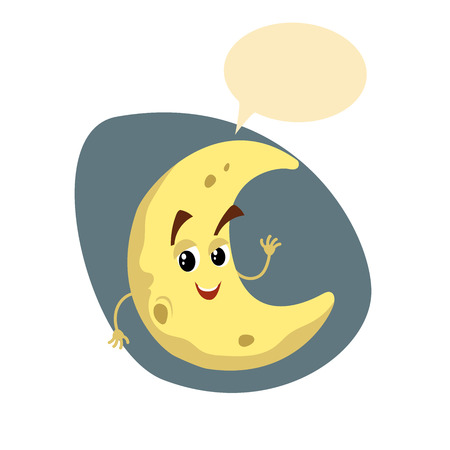 Cartoon smiling crescent mascot. Weather and kid bedroom symbol. Moon speaking character with dummy speech bubble and little clouds. Vector illustration icon.