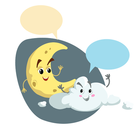 Cartoon smiling crescent and pretty cloud mascots. Weather and bedroom symbol. Moon speaking character. Dummy speech bubbles. Vector illustration icon.