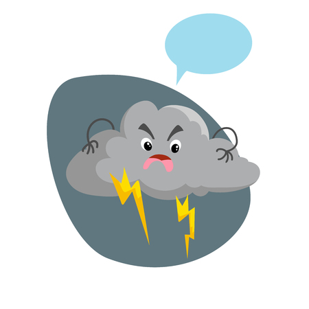 Cartoon overcast storm cloud with thunderstorm mascot. Weather rain and storm symbol. Speaking character with dummy speech bubble. Vector illustration icon.
