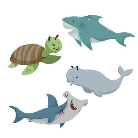 Cartoon sea animals set vector