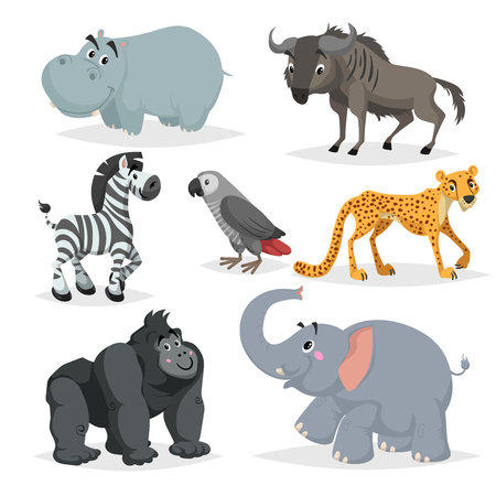 African animals cartoon set. Hippo, gorilla monkey, gray parrot, elephant, cheetah, zebra and wildebeest. Zoo wildlife collection. Vector illustrations isolated on white background.