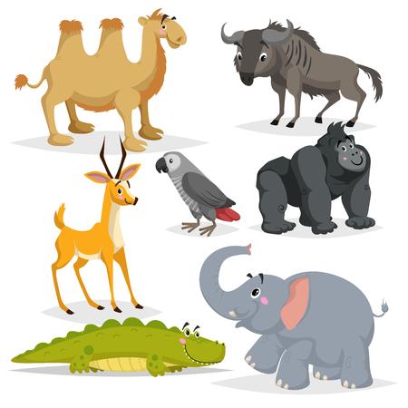Zestaw kreskówka afrykańskich zwierząt. Małpa goryl, papuga szara, słoń, antylopa gazela, krokodyl, wielbłąd dwugarbny i antylopa gnu. Kolekcja dzikich zwierząt w zoo. Ilustracje wektorowe na białym tle. Ilustracje wektorowe