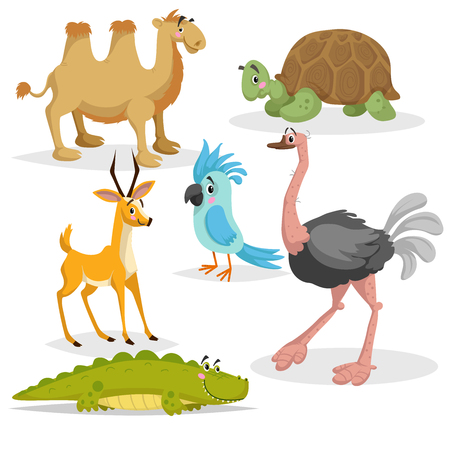 African animals cartoon set. Gazelle antelope, crocodile, bactrian camel, big african turtle, parrot and ostrich. Zoo wildlife collection. Vector illustrations isolated on white background. Иллюстрация