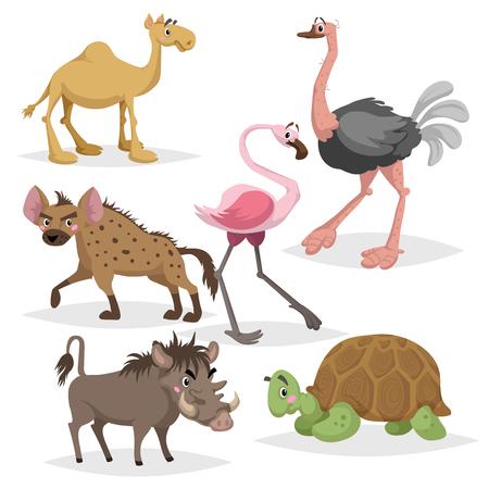 Afrikanischer Tierkarikatursatz. Kamel, große afrikanische Schildkröte, Flamingo, Hyäne, Warzenschwein und Strauß. Zoo Wildlife-Auflistung. Vektorillustrationen lokalisiert auf weißem Hintergrund.