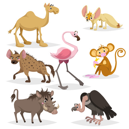 African animals cartoon set. Dromedary camel, vulture, flamingo, hyena, warthog, monkey with banana and african fox fennec. Zoo wildlife collection. Vector illustrations isolated on white background. Vettoriali