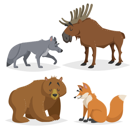 Forest North America and Europe animals set. Wolf, moose, bear and red fox. Happy smiling and cheerful characters. Vector zoo illustrations isolated on white background. Illustration