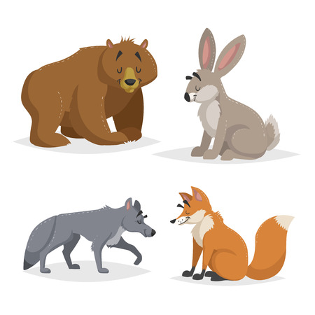 Forest North America and Europe animals set. Wolf, hare, bear and red fox. Happy smiling and cheerful characters. Vector zoo illustrations isolated on white background.