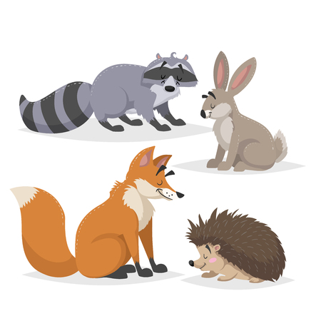Forest animals set. Raccoon, hare, hedgehog and red fox. Happy smiling and cheerful characters. Vector zoo illustrations isolated on white background. Illustration