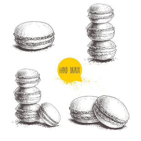 Hand drawn sketch style french pastry macaroons set. Collection of sweet goods for menu design, restaurants and shops.