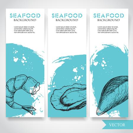 水彩青の背景と手描きの食べ物とシーフードバナー。エビ、カキ、ムール貝の殻をスケッチ。レストランと魚市場テンプレート。ベクトルのイラス