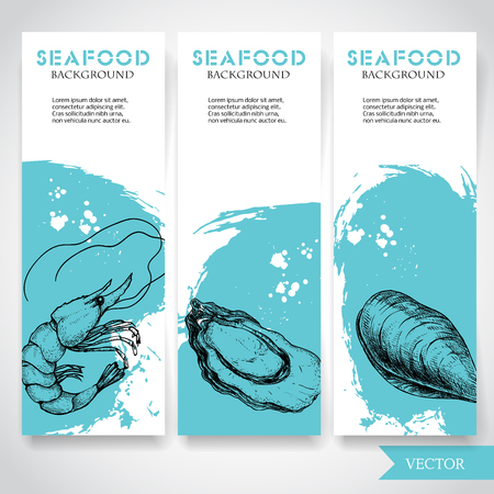 Seafood banner with watercolor blue background and hand drawn food. Sketch fresh shrimp, oyster and mussel shell. restaurant and fish market template. Vector illustration.