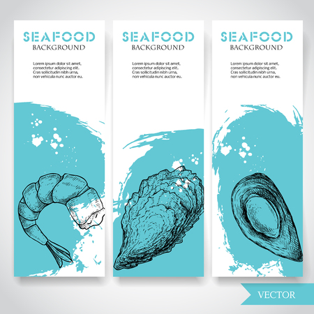 Seafood banner with watercolor blue background and hand drawn food. Sketch prepared shrimp, oyster and mussel shell. Restaurant and fish market template. Vector illustration.