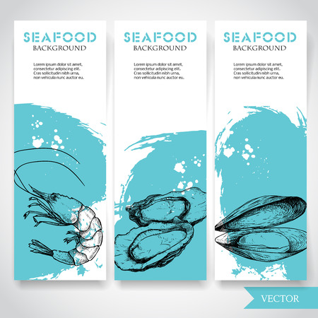 Seafood banner with watercolor blue background and hand drawn food. Sketch prepared shrimp, oysters and mussel shell. Restaurant and fish market template. Vector illustration.  イラスト・ベクター素材