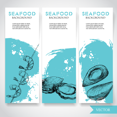 Seafood banner with watercolor blue background and hand drawn food. Illustration