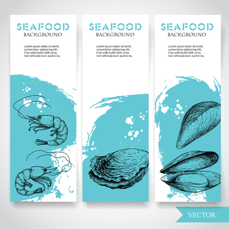 Seafood banner with watercolor blue background and hand drawn food. Sketch fresh shrimp, oysters and mussel shell. Restaurant and fish market template. Vector illustration.  イラスト・ベクター素材