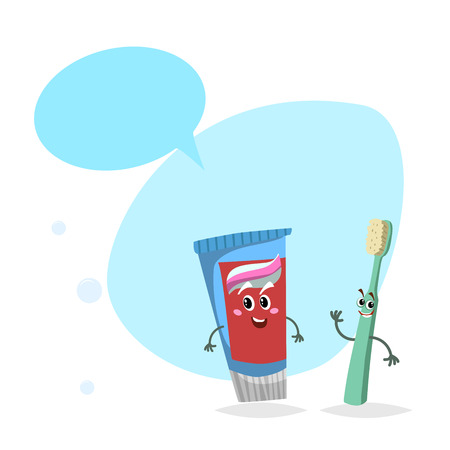 Cartoon toothpaste tube and toothbrush smiling mascots. Ilustração