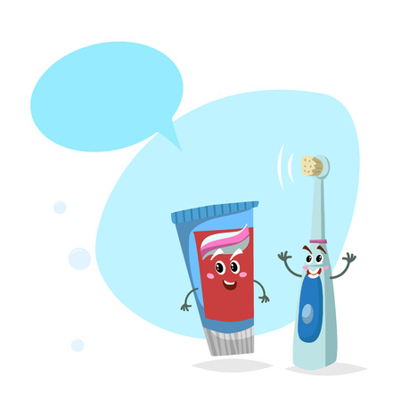 Cartoon toothpaste tube and electric ultrasound toothbrush smiling mascots.