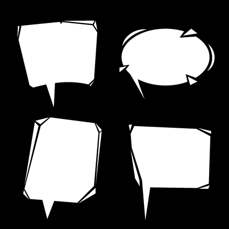 Cartoon modern speech bubbles set. Communication white symbols isolated on blackboard. Vector illustrations. Illustration