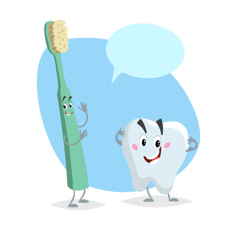 Cartoon dental care characters. Smiling healthy strong tooth and green happy toothbrush. Healthcare kid vector illustration with dummy speech bubble.