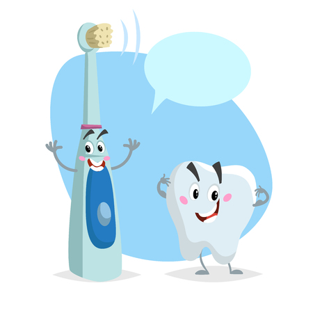 Cartoon dental care characters. Smiling healthy strong tooth and electric ultrasonic happy toothbrush. Healthcare kid vector illustration with dummy speech bubble.