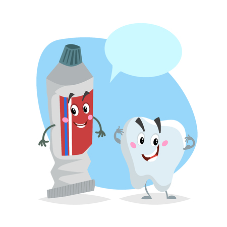 Cartoon dental care characters. Smiling healthy strong tooth and toothpaste tube. Healthcare kid vector illustration with dummy speech bubble. Illustration