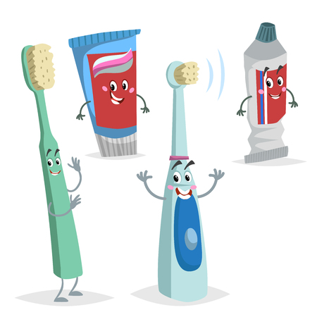 Cartoon dental care characters set. Comic toothbrush, ultrasound electric brush, tooth paste tubes. Medicine and health care educational vector illustrations collection.