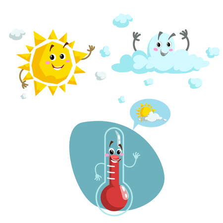 Cartoon weather characters set. Friendly sun, cloud and smiling thermometer mascot. Speech bubble with sun and clouds. Vector illustration icons collection. Stock Illustratie