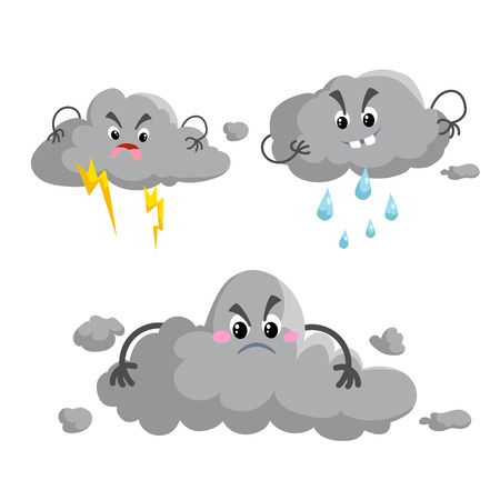 Cartoon overcast storm cloud with thunderstorm mascotsset. Weather rain and storm symbols. Vector illustration icons collection. Illustration