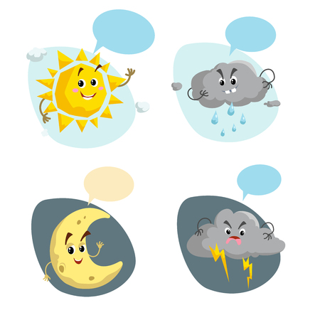 Cartoon weather characters set. Friendly sun, rain cloud with raindrops, crescent moon and thunderstorm cloud with lightning. Speech bubbles. Vector climate icons collection.