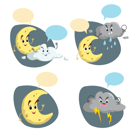 Cartoon weather characters set. Friendly crescent moon, rain cloud with raindrops  and thunderstorm cloud with lightning. Speech bubbles. Vector climate icons collection.
