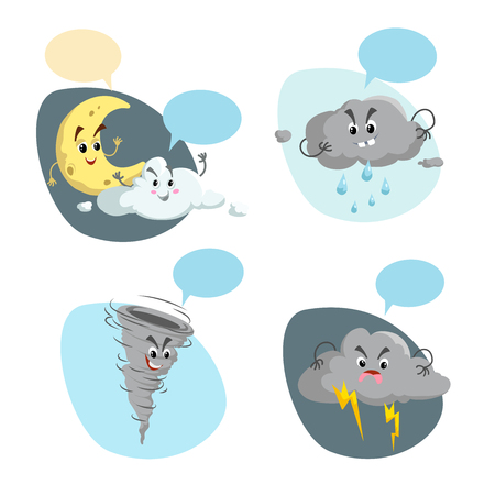 Cartoon weather characters set. Friendly crescent moon, rain cloud with raindrops, thunderstorm cloud with lightning and tornado. Speech bubbles. Vector climate icons collection.